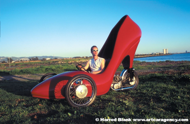 Red Stiletto Art Car By David Crow